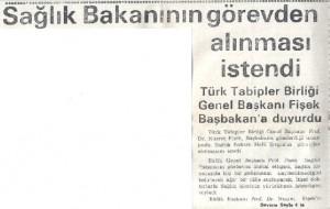 Çukurova demokrat gazetesi-1990.Nusret Fişek, Sağlık Bakanının Görevden Alınması istendi