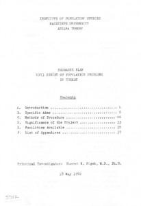 RESEARCH PLAN 1973 SURVEY OF POPULATION PROBLEMS IN TURKEY-kapak