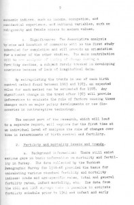 RESEARCH PLAN 1973 SURVEY OF POPULATION PROBLEMS IN TURKEY-syf9