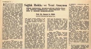Sağlık Hakkı ve Yeni Anayasa